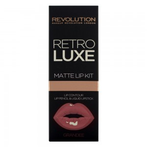 Makeup Revolution Retro Luxe Matte Lip Kit Zestaw pomadka + konturówka Grandee